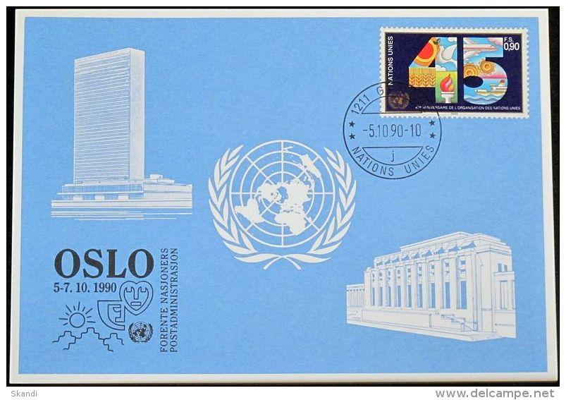 UNO GENF 1990 Mi-Nr. 207 Blaue Karte - Blue Card - Briefe U. Dokumente