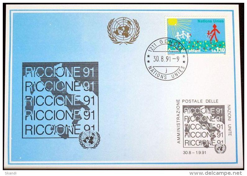 UNO GENF 1991 Mi-Nr. 221 Blaue Karte - Blue Card - Briefe U. Dokumente