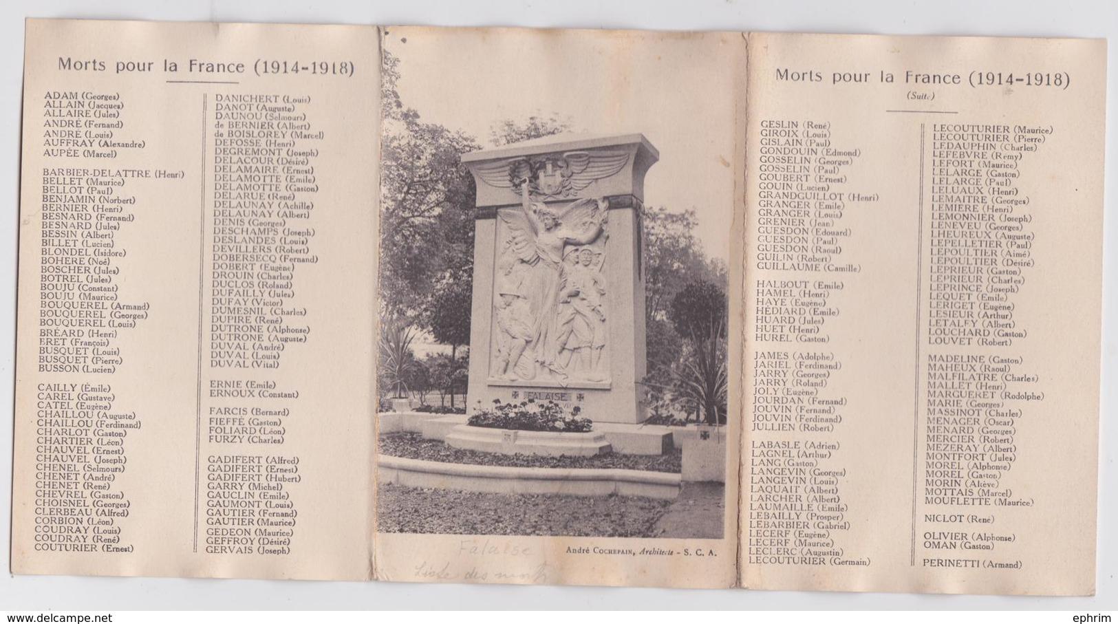 FALAISE (Calvados) - Souvenir De L'Inauguration De Monument Aux Morts Le 29 Octobre 1922 - Carte Triple - Falaise