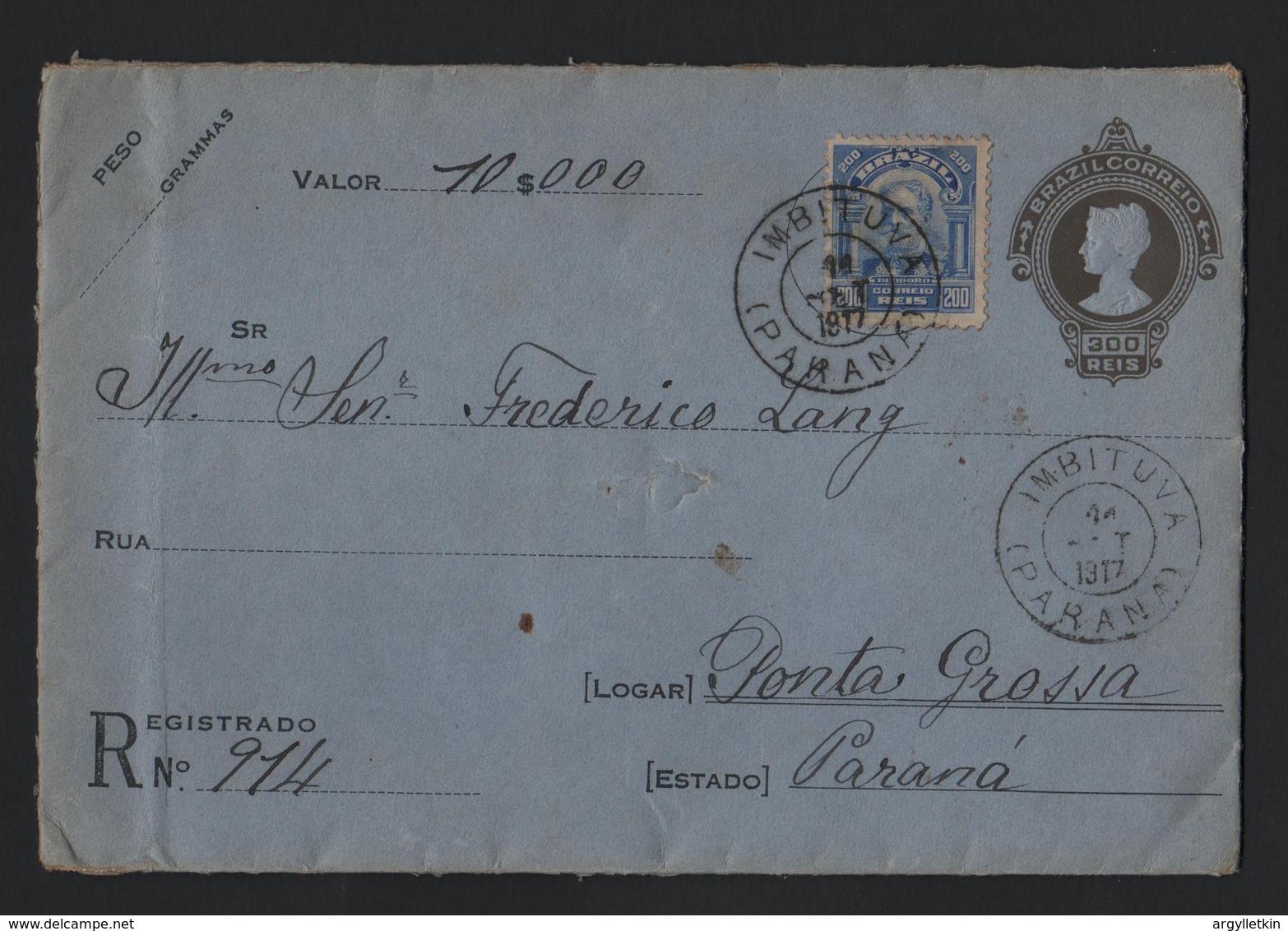 BRAZIL REGISTERED STATIONERY ENVELOPE IMBITUVA PARANA 1917 - Brazil