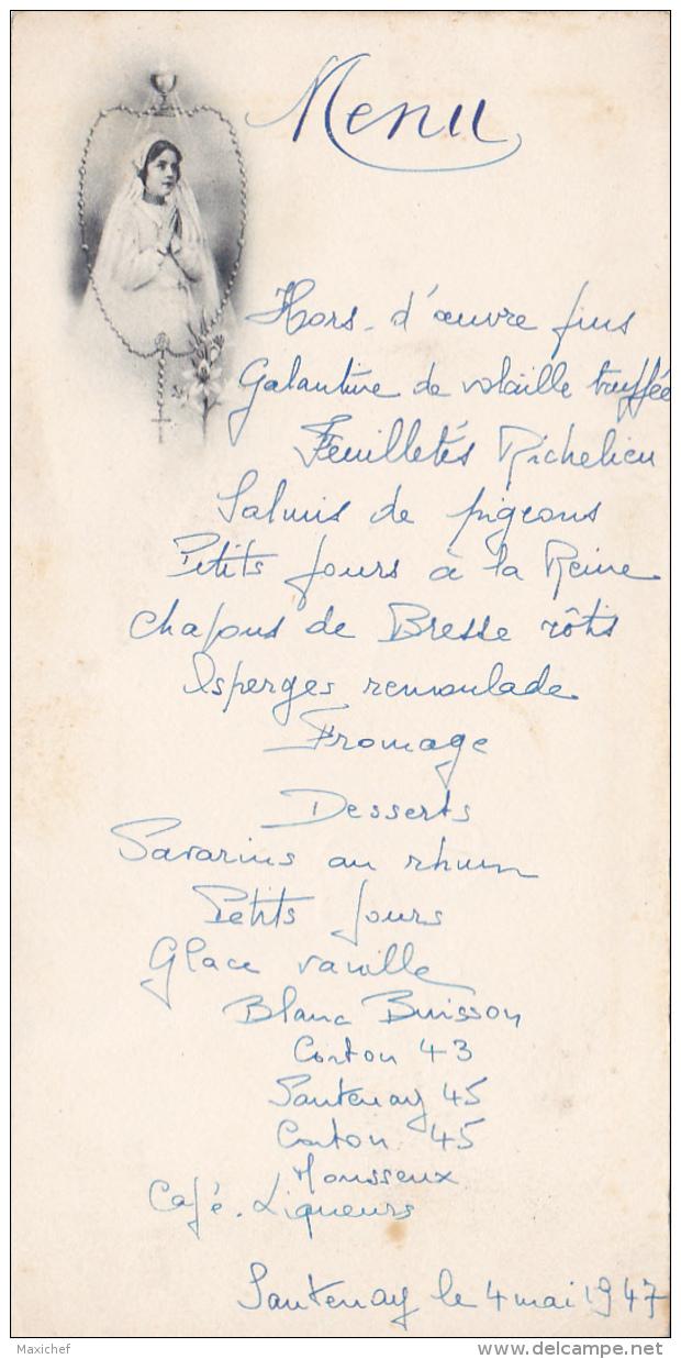 Menu Illustré De 1er Communion à Santenay (21), Le 4 Mai 1947 - Menükarten