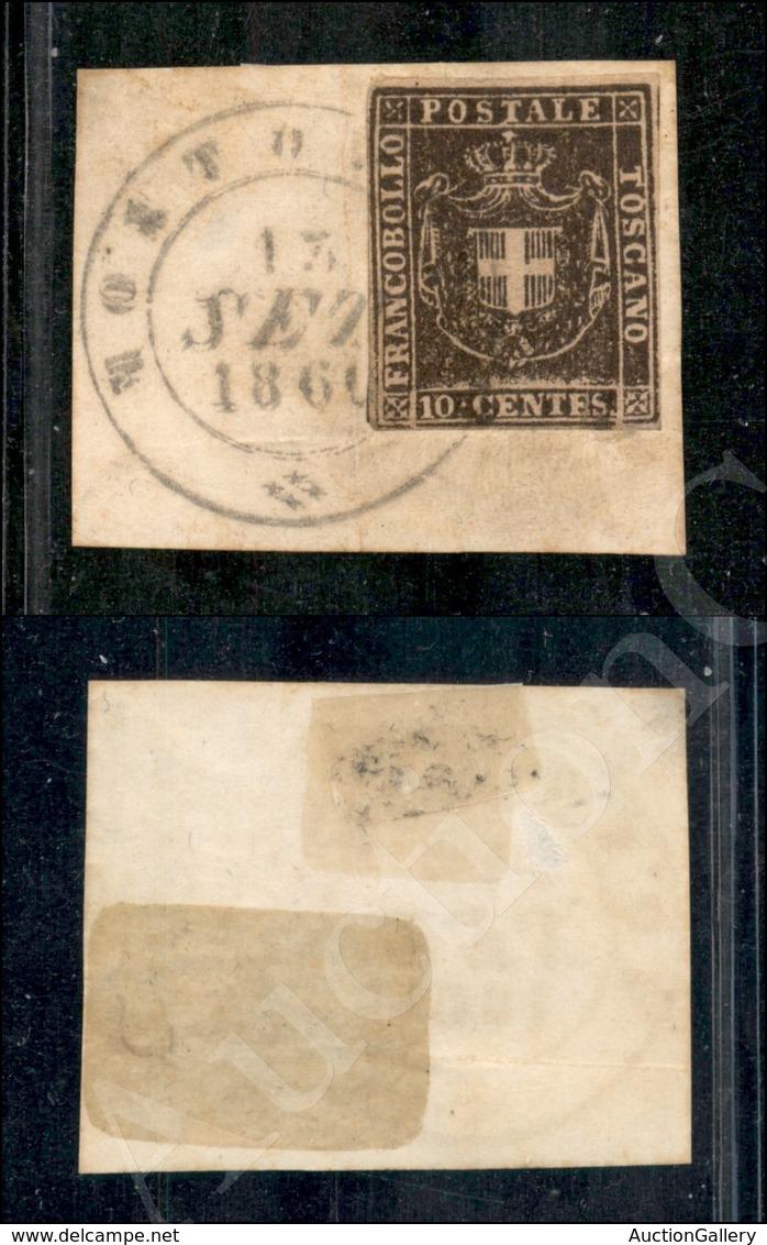 A17-131-A08-116 ANTICHI STATI - TOSCANA - 1860 - 10 Cent Bruno (19) Su Frammento Da Montopoli (pt.12) - Ben Marginato (1 - Timbres