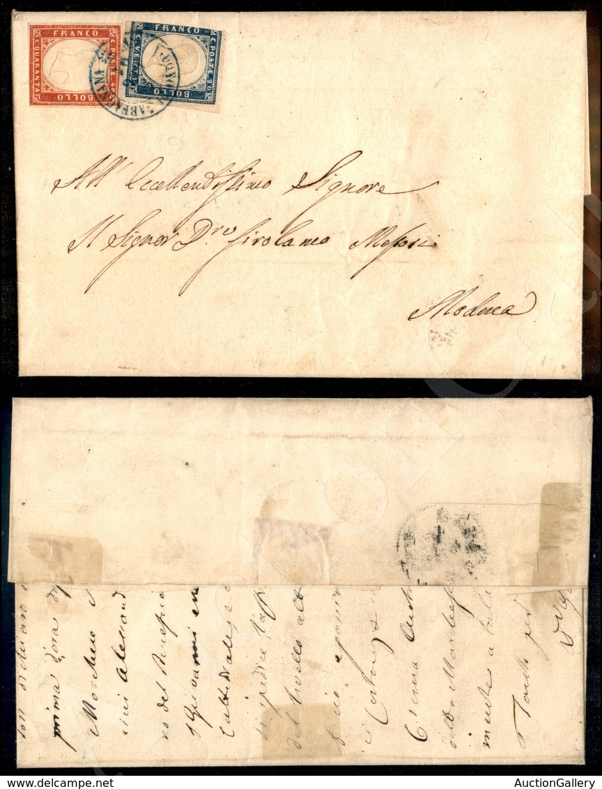 A17-136-A08-123 REGNO - Castelnuovo Di Garfagnana (azzurro - Pt.11) - 20 Cent + 40 Cent (15D+16D - Sardegna) Su Parte Di - Stamps