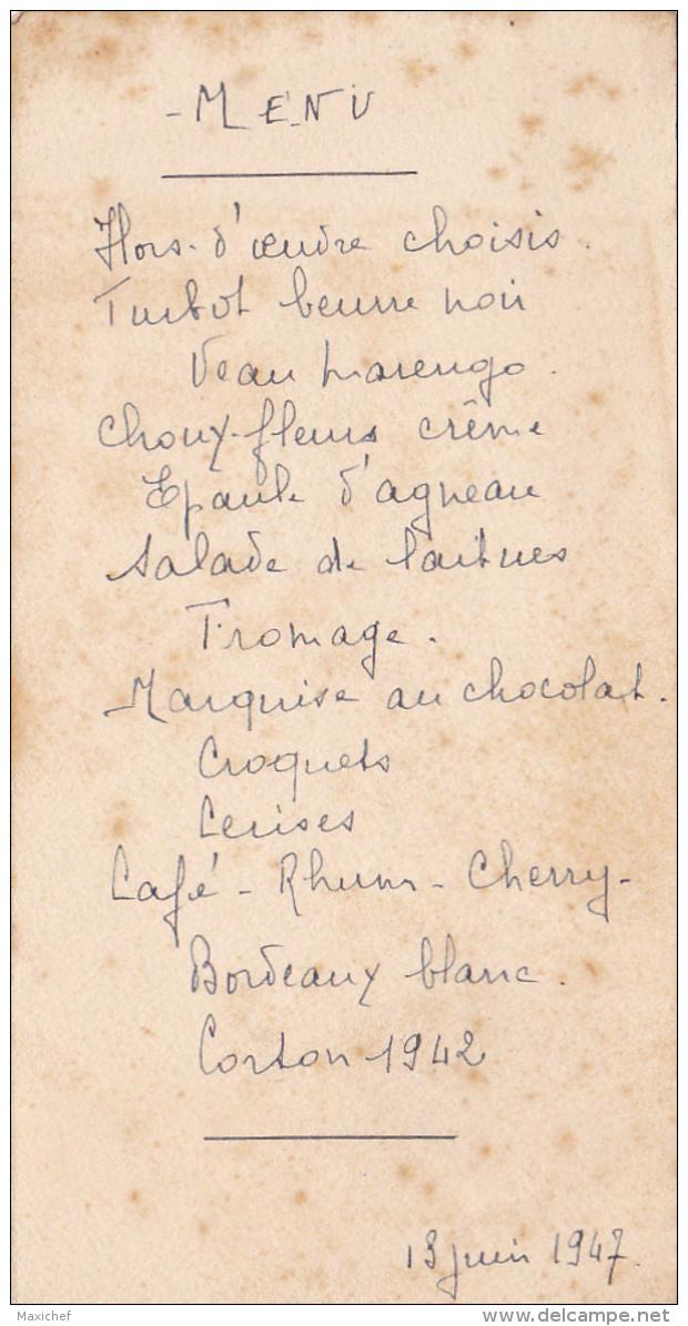 Menu écrit à La Main, 13 Juin 1947 - Menus