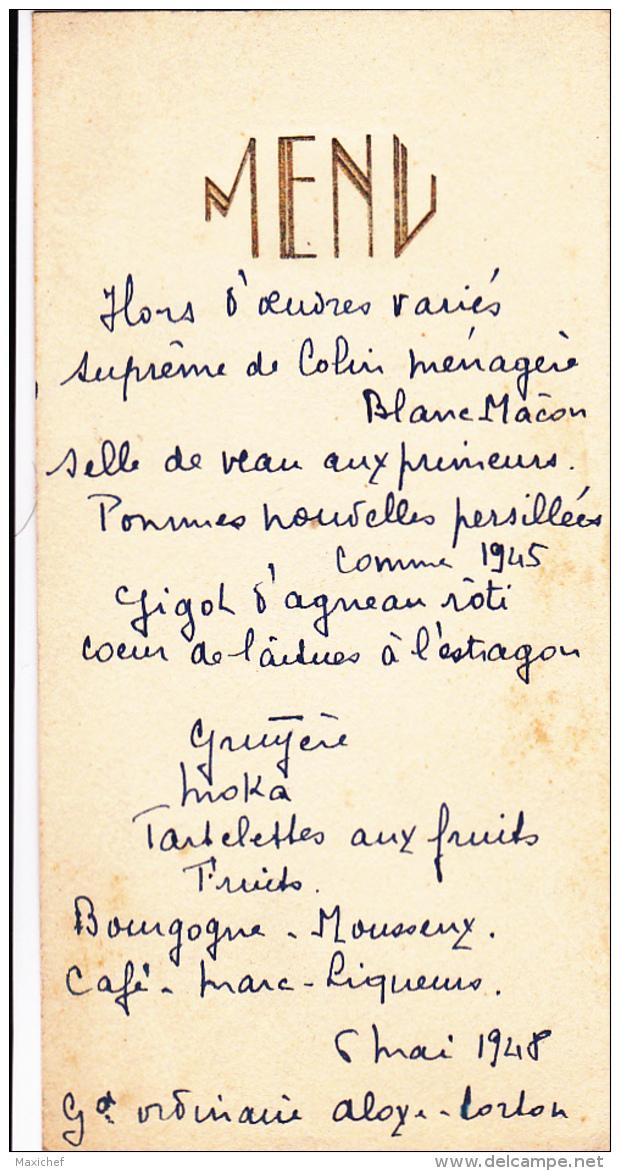 Menu Gauffré Et écrit à La Main, 6 Mai 1948 - Menus
