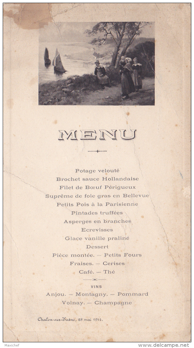 """Menu Illustré Et Imprimé """" Bretonnes Au Départ Des Pêcheurs - Chalon Sur Saône, 29 Mai 1914 - Menus"""