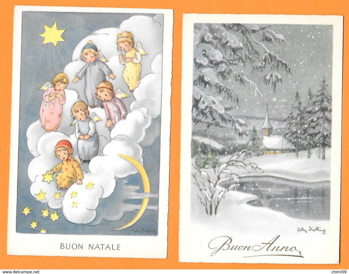 BUON NATALE - ANGELI - ANGELS - PAESAGGIO INNEVATO - 2 CARTOLINE - Natale