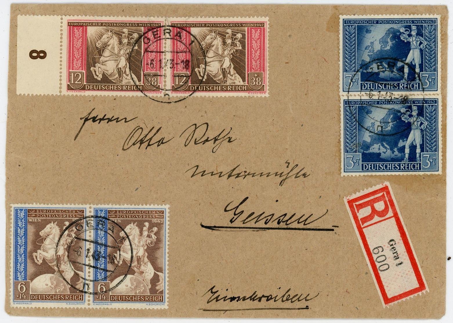 Nr. 820 - 822 Einschreiben 1943 Aus Gera - Briefe U. Dokumente
