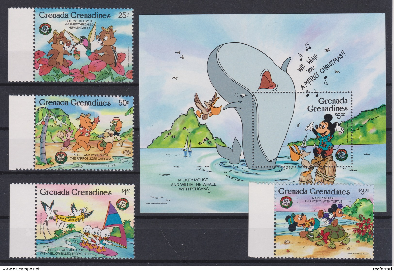 2278  WALT DISNEY - GRENADA  GRENADINES  ( Christmas 1986 )  Mickey Mouse And Willie The Whale With Pelicans. - Disney