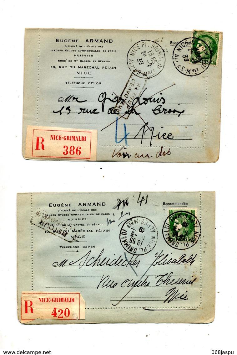 Lettre Recommandee Nice Sur Ceres + Retour + Mention Ecrite Au Dos - Postmark Collection (Covers)