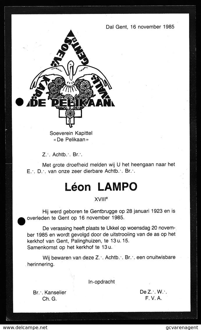 BERICHT OVERLIJDEN FRANC MACON MACONNIQUE LOGE -  LEON LAMPO - GENTBRUGGE 1923 - GENT 1985 - Décès