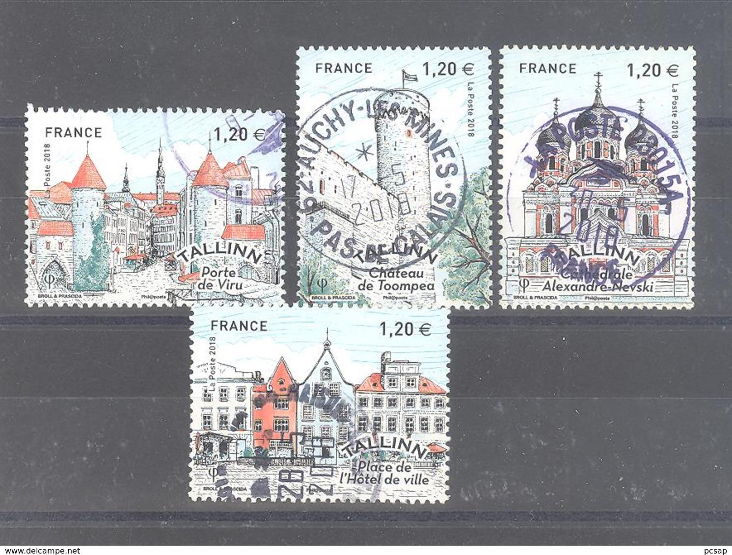 "France Oblitérés : Les 4 Timbres Du Bloc ""Tallinn - Estonie"" (cachet Rond) - France"