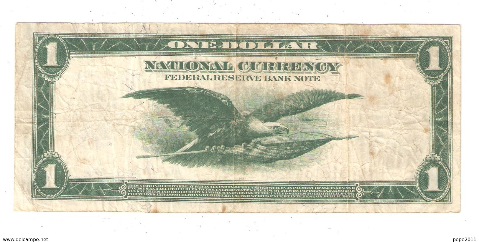 1918 United States Federal Reserve Bank Of New York, 1 Dollar Bill, One Dollar Large Note - Flying Eagle - Large Size - Groot (...-1928)