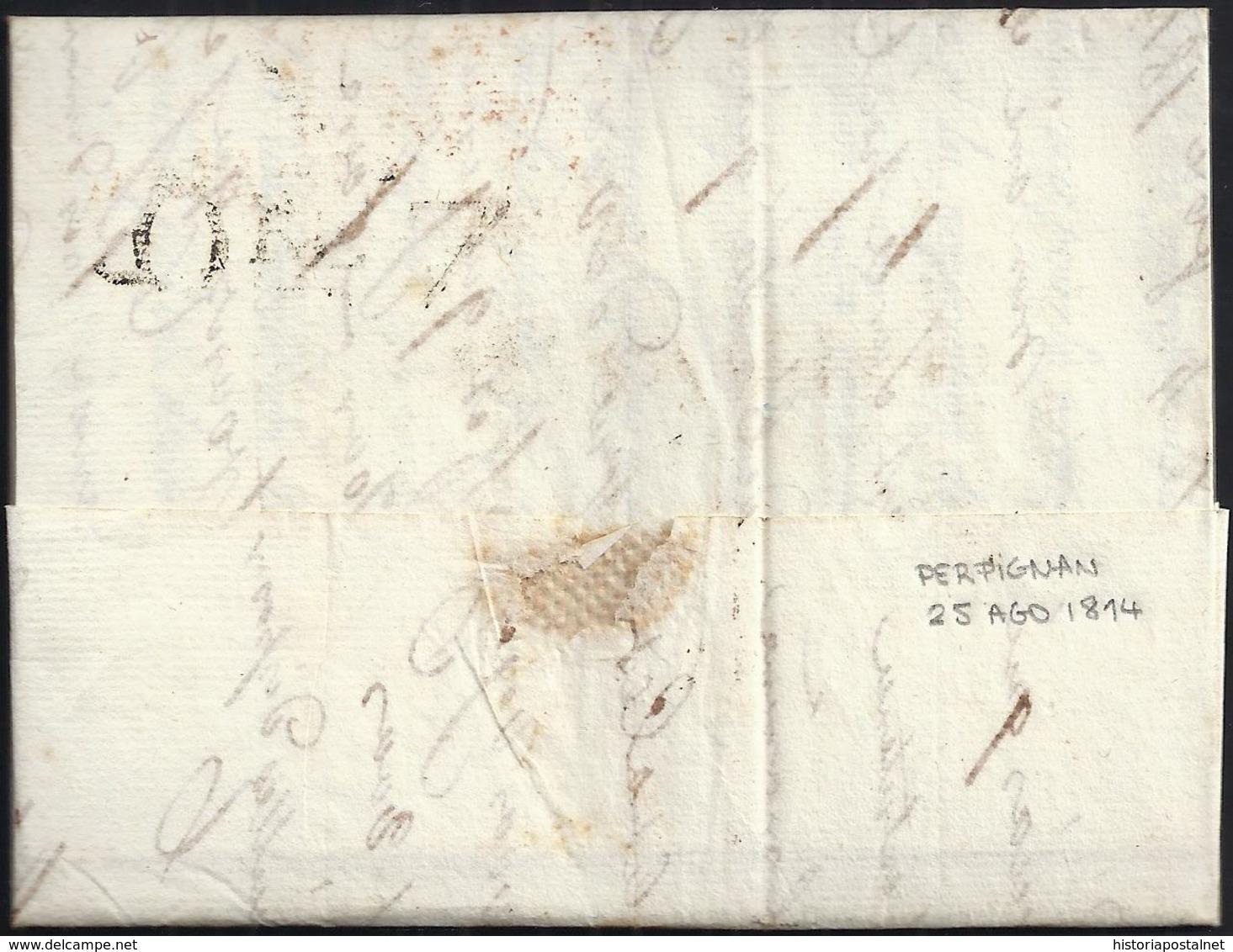 1814. PERPIGNAN A BARCELONA. MARCA 65/PERPIGNAN EN ROJO. PORTEO 5R REALES EN ROJO. MANCHAS DE VINAGRE POR DESINFECCIÓN. - Marcofilia (sobres)