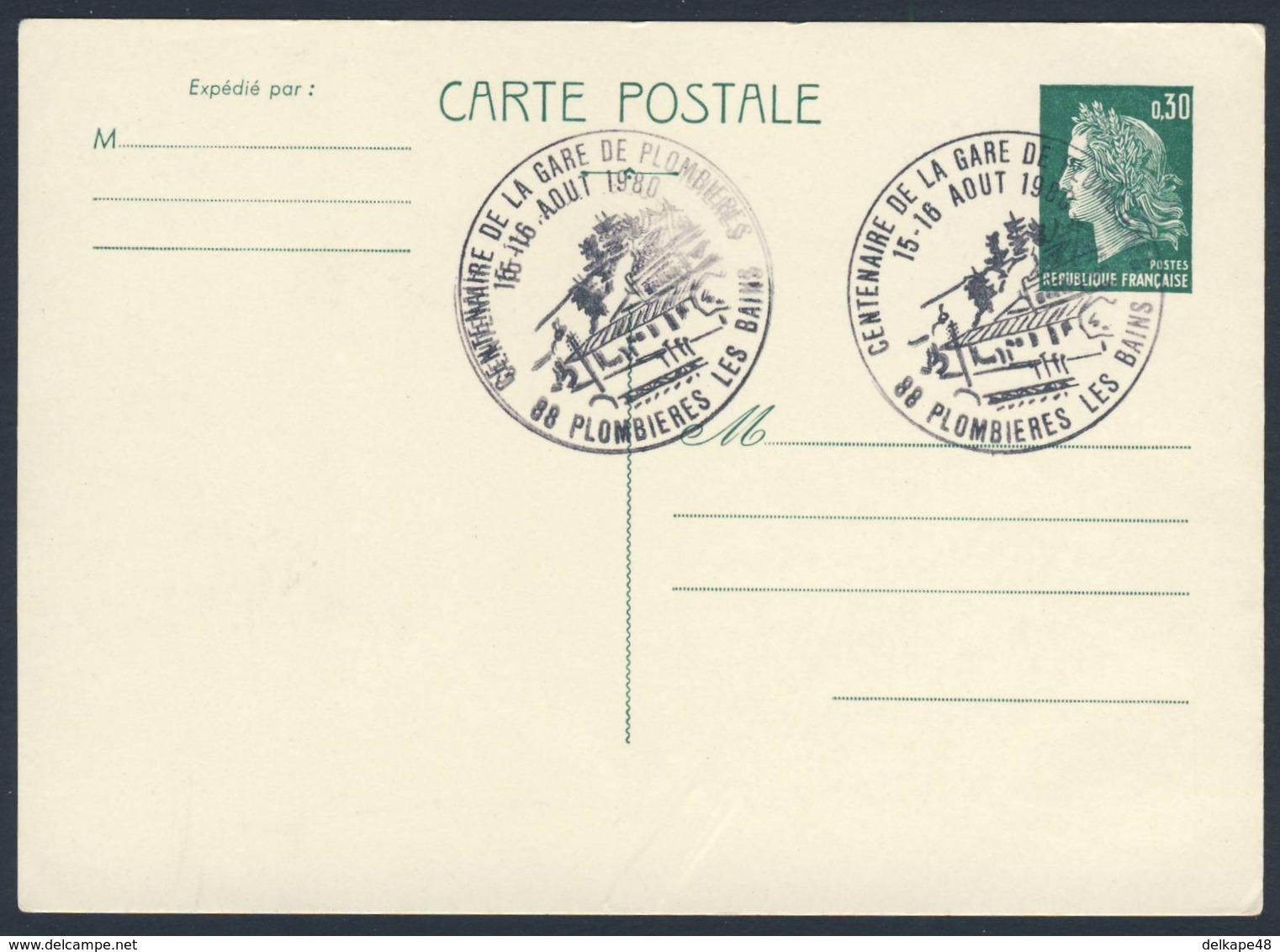 France Rep. Française 1980 Card / Karte / Carte Postale - Cent. Gare Plombieres Les Bains / Railway Station / Bahnhof - Treinen