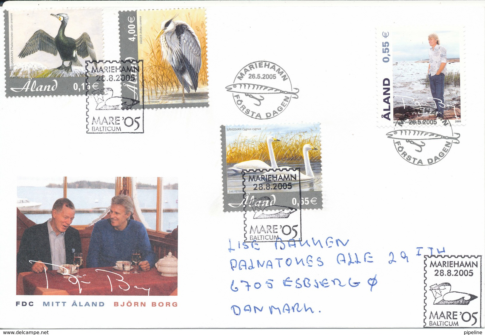 Aland FDC 26-5-2005 My Aland (Björn Borg Cachet) Uprated With Complete Set BIRDS And With Postmark Mare Balticum 28-8-05 - Aland