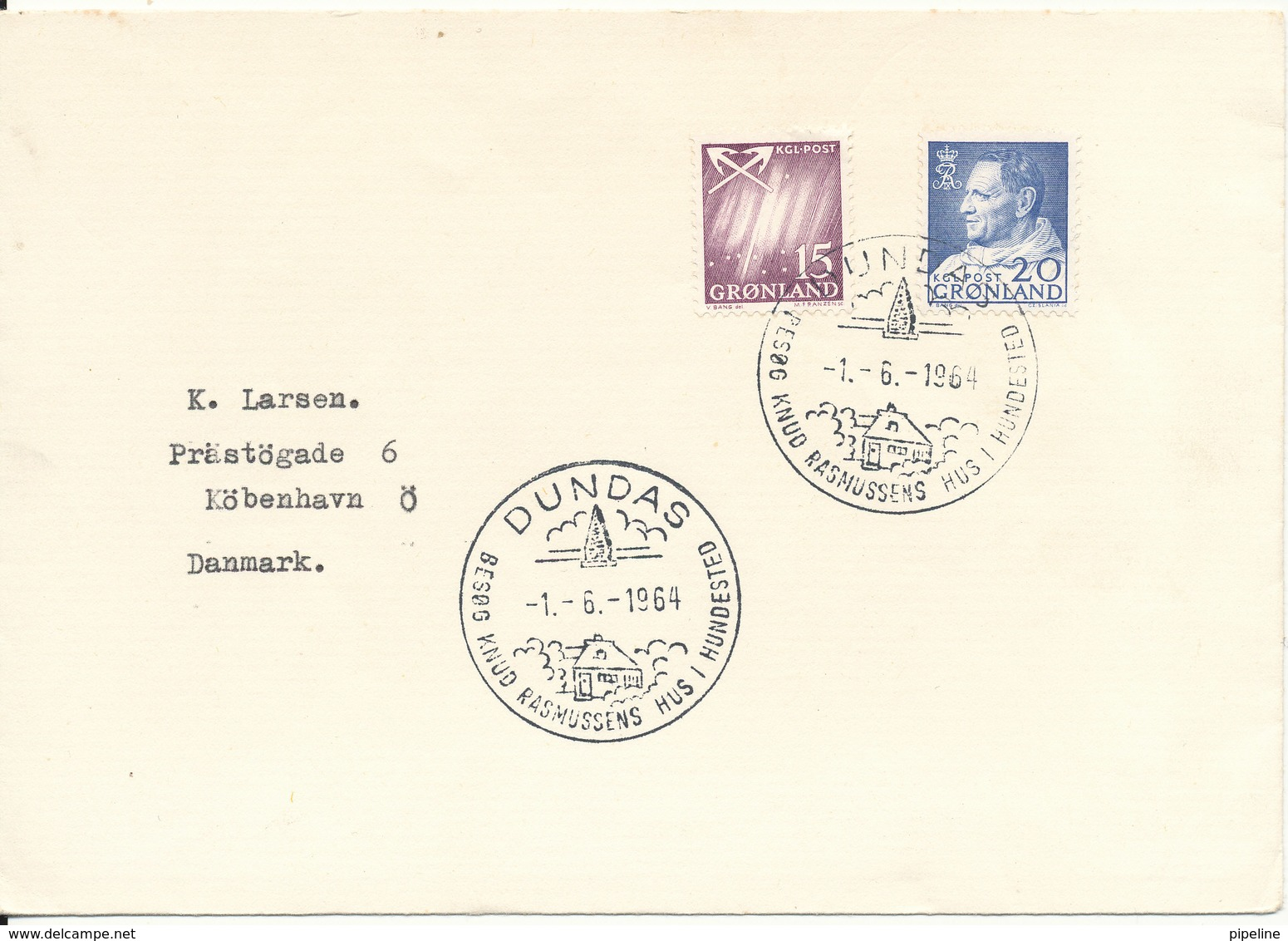 Greenland Cover Sent To Denmark With Special Postmark Dundas 1-6-1964 Visit Knud Rasmussens House In Hundested - Groenland