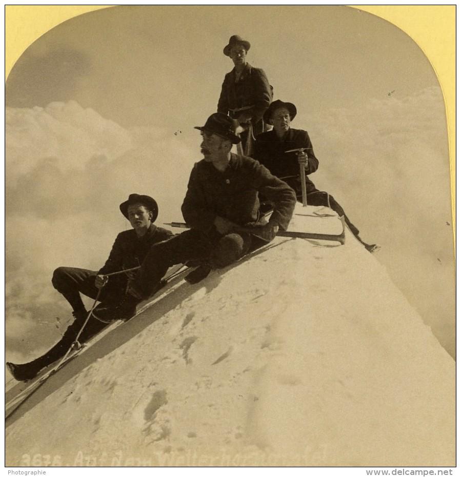Suisse Alpinistes Au Sommet Du Wetterhorn Ancienne Photo Stereo Gabler 1885 - Photos Stéréoscopiques
