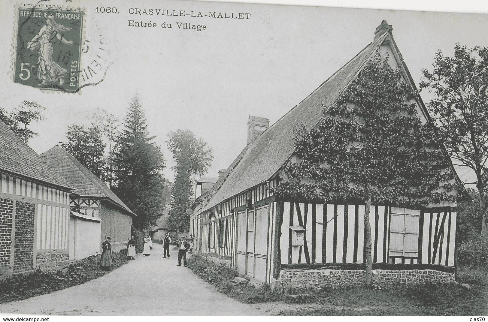 CRASVILLE-LA-MALLET - ENTREE DU VILLAGE - ANIMEE - VERS 1900 - Autres Communes