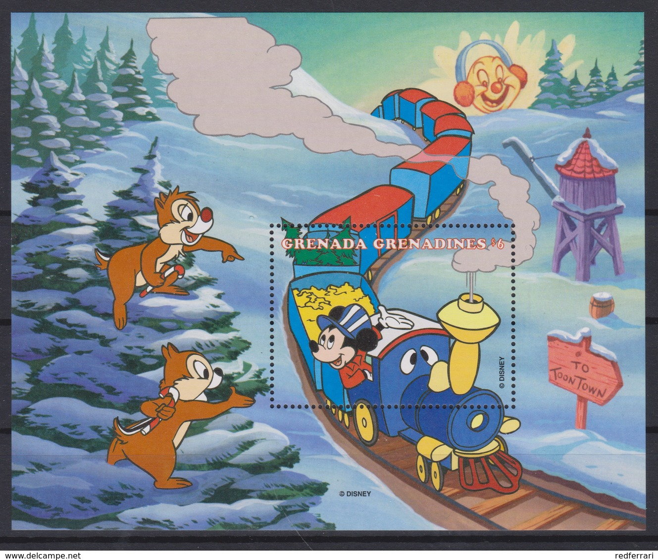 2306   WALT DISNEY   GRENADA GRENADINES  ( 70 Th Aniverseray Of Micey ) The Christmas Train Of Mickey . - Disney