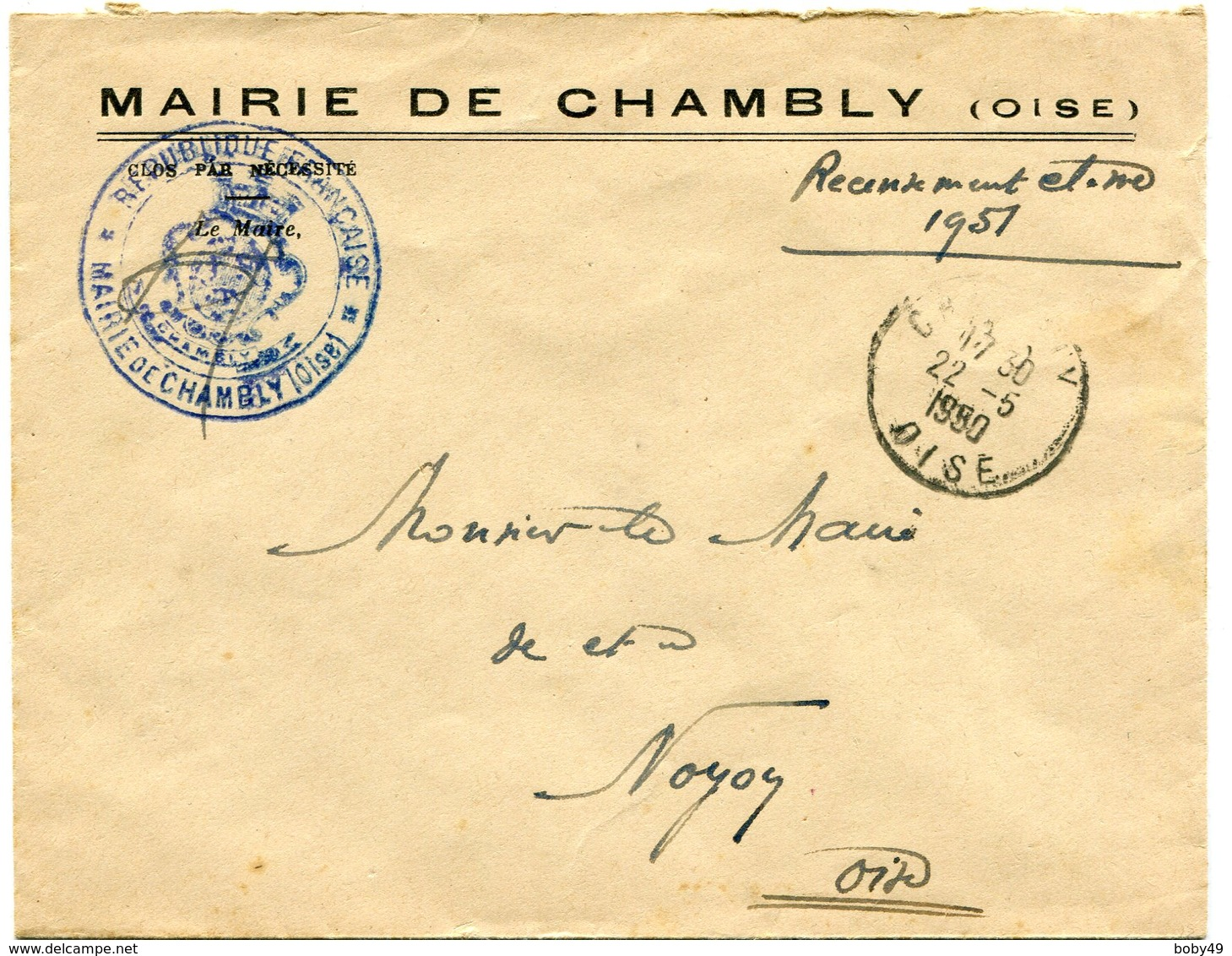 OISE De CHAMBLY Env. Avec En Tête De Mairie Et Dateur A6 Du 22/05/1950 - 1921-1960: Modern Period