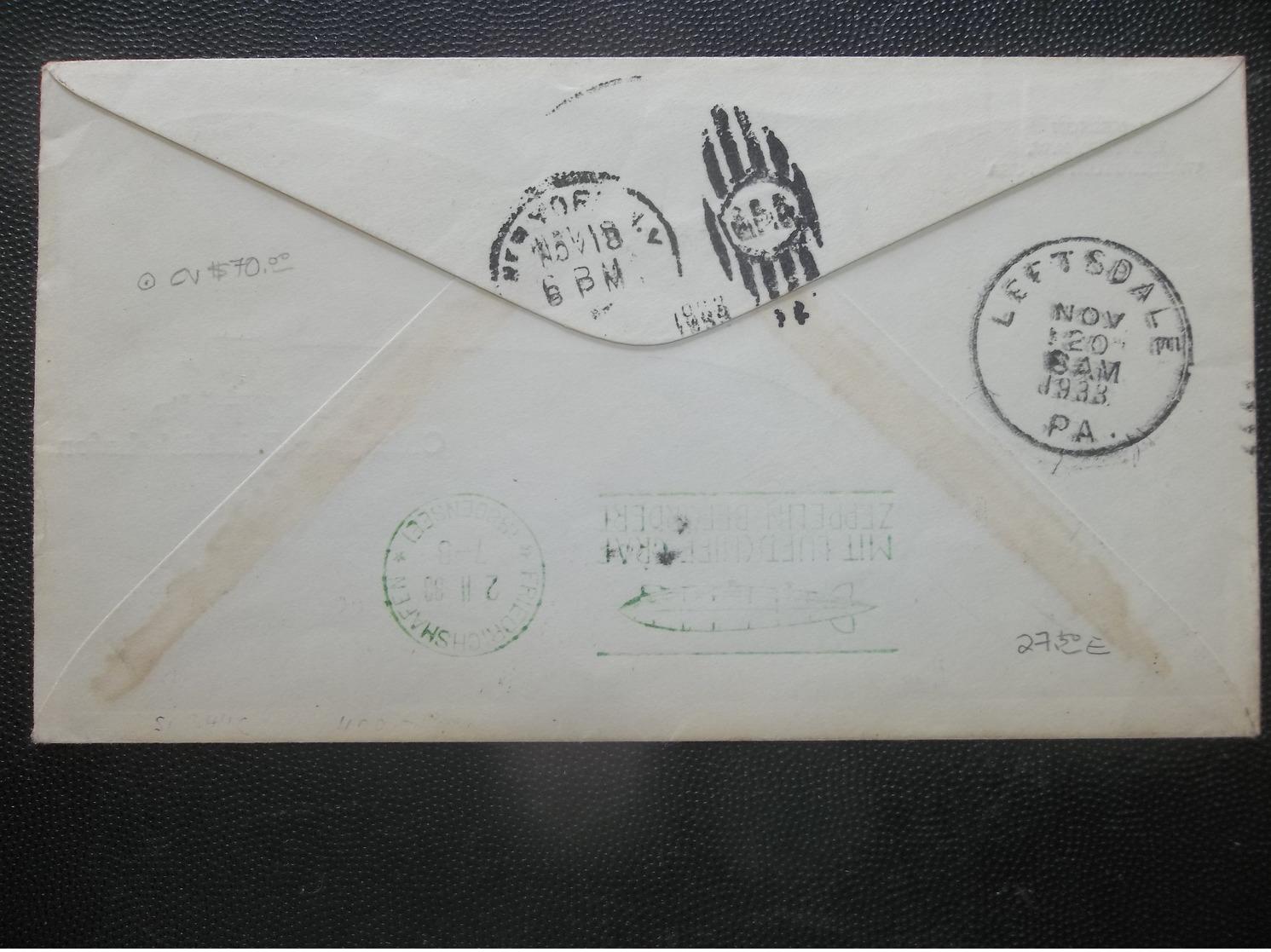 USA: 1933 50c. Graf Zeppelin Air Cover To Loetsdale, Penn, USA (#YE3) - Etats-Unis