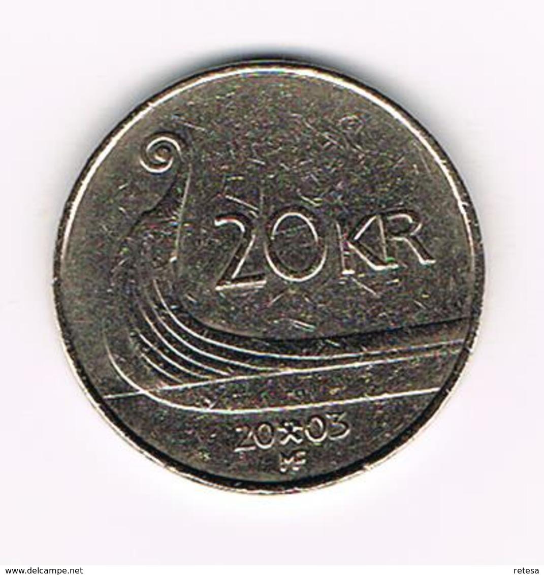 &-  NOORWEGEN  20 KRONER 2003 - Norvège