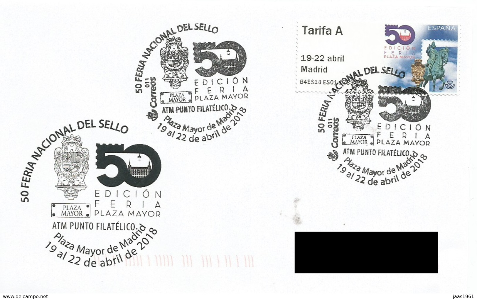 SPAIN. POSTMARK 50 NATIONAL STAMP FAIR. MADRID 2018. ATM. KING FELIPE III - Marcofilia - EMA ( Maquina De Huellas A Franquear)