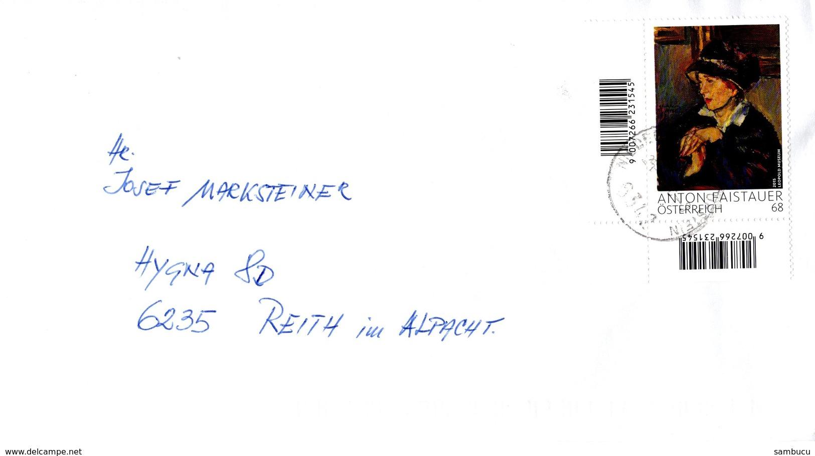Brief Von 6342 Niederndorferberg Mit 68 Cent Anton Faistauer 2018 - 1945-.... 2. Republik