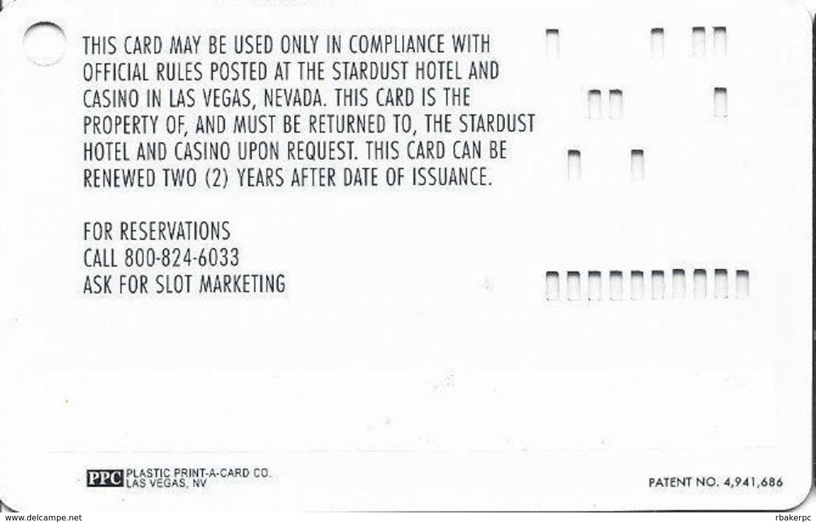 Stardust Casino - Las Vegas NV - Slot Card - Tiny PPC - Casino Cards