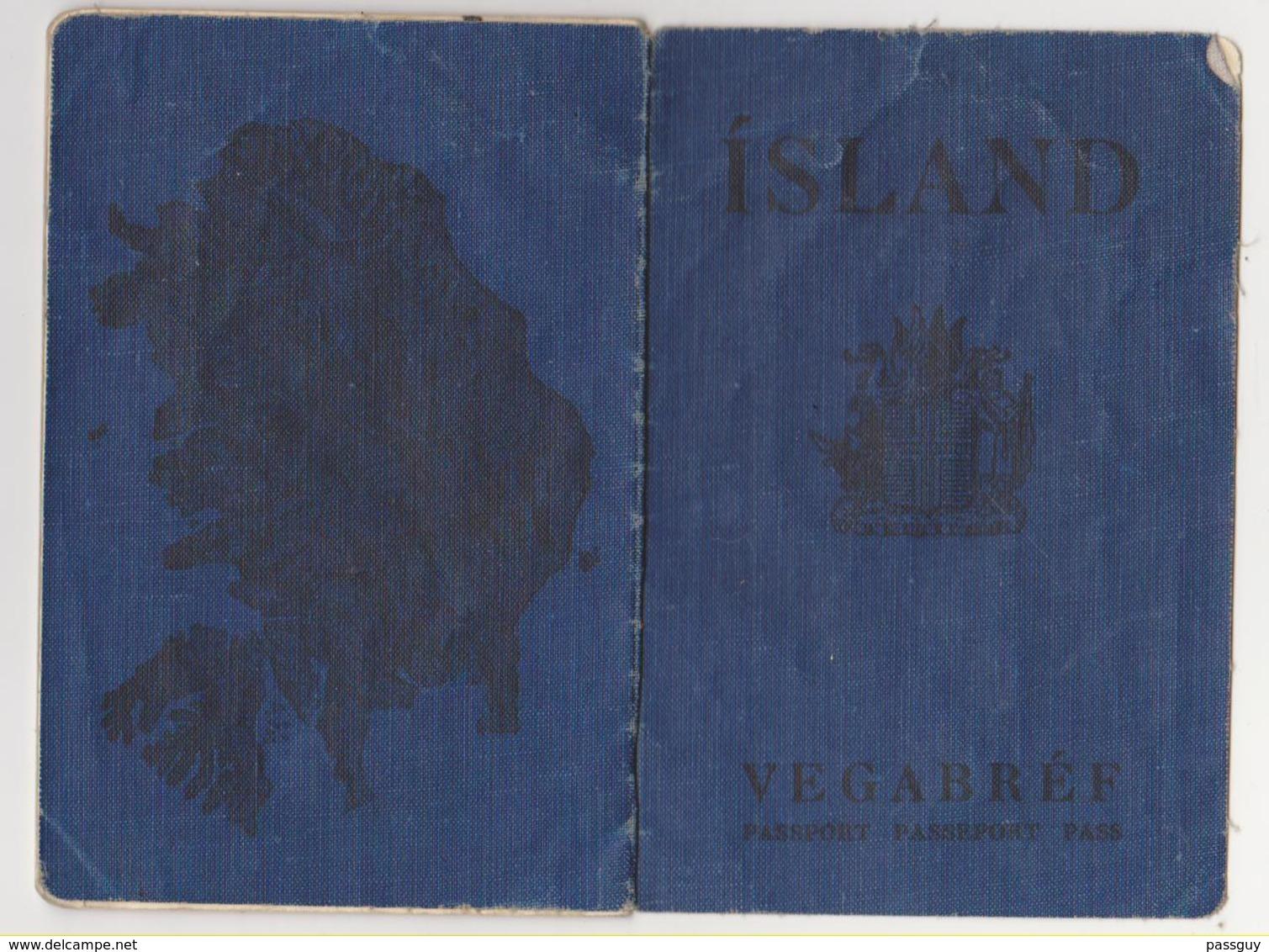 ICELAND Passport 1956 ISLANDE Passeport – Reisepaß - Documents Historiques