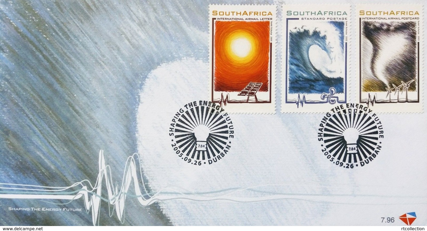 South Africa RSA 2005 FDC Renewable Energy Sources Shaping Future Solar Wind Water Nature Environment 26/9/2005 Stamps - Environment & Climate Protection