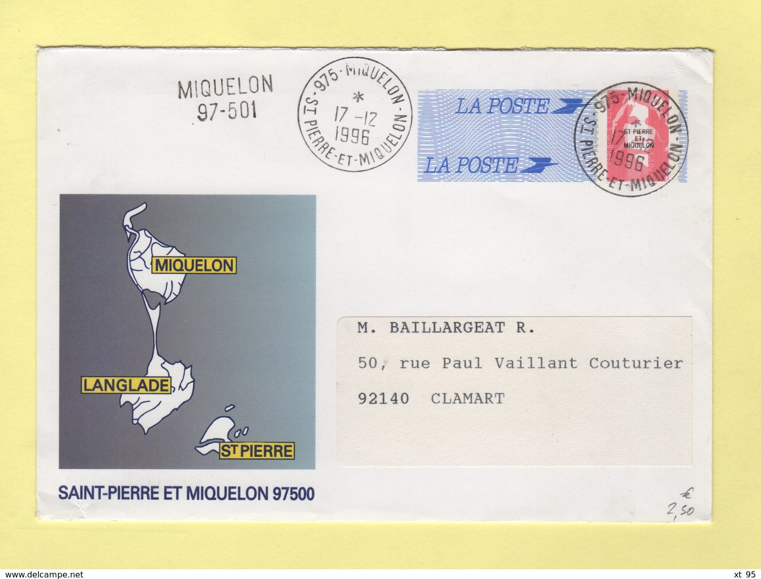 Marianne De Briat - St Pierre Et Miquelon - 1996 - Postmark Collection (Covers)