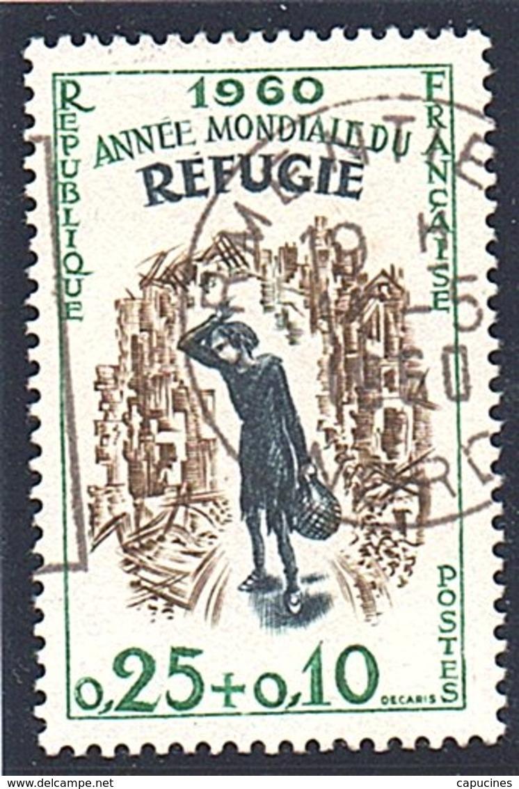 """EVENEMENTS - 1960:25c+10c Brun-olive """"Année Mondiale Du Réfugié""""  N° 1253 Obl - France"""