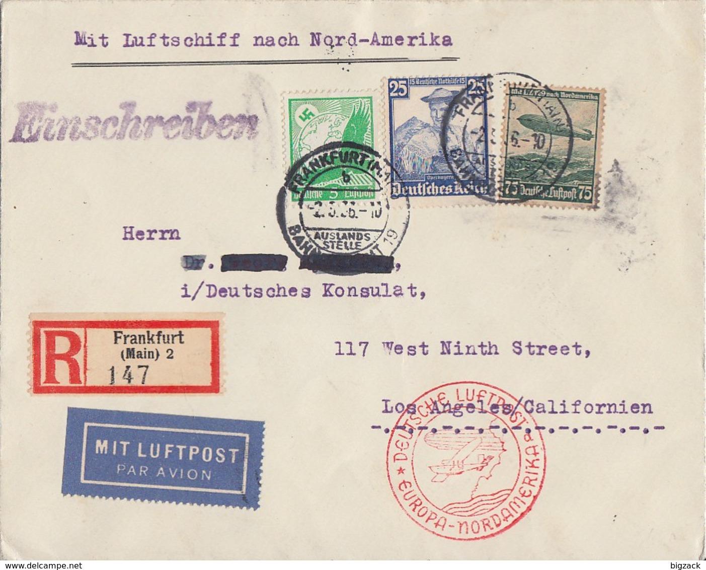 DR R-Brief Luftpost Mit Luftschiff Mif Minr.529,595,607 Frankfurt 2.5.36 Gel. In USA - Briefe U. Dokumente