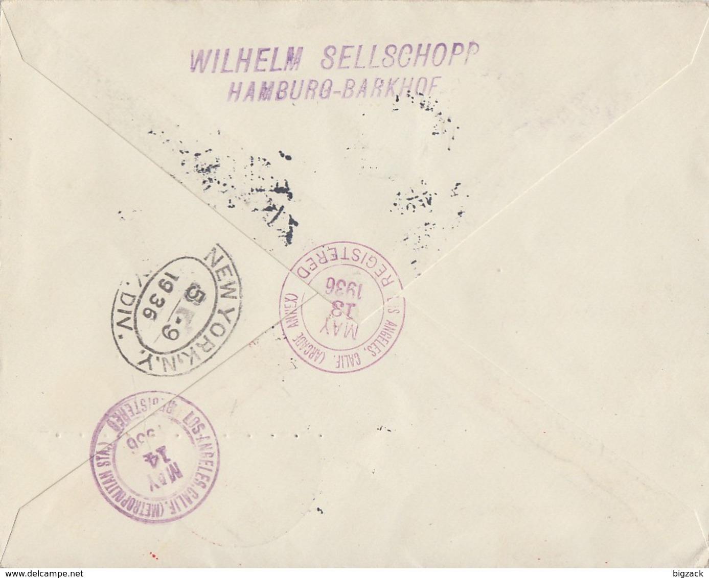 DR R-Brief Luftpost Mit Luftschiff Mif Minr.529,595,607 Frankfurt 2.5.36 Gel. In USA - Deutschland