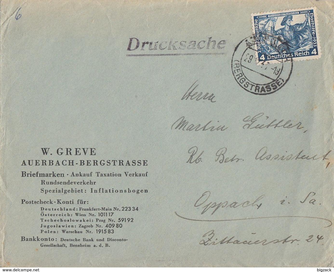 DR Brief EF Minr.500 Auerbach (Bergstrasse) 29.12.33 - Deutschland