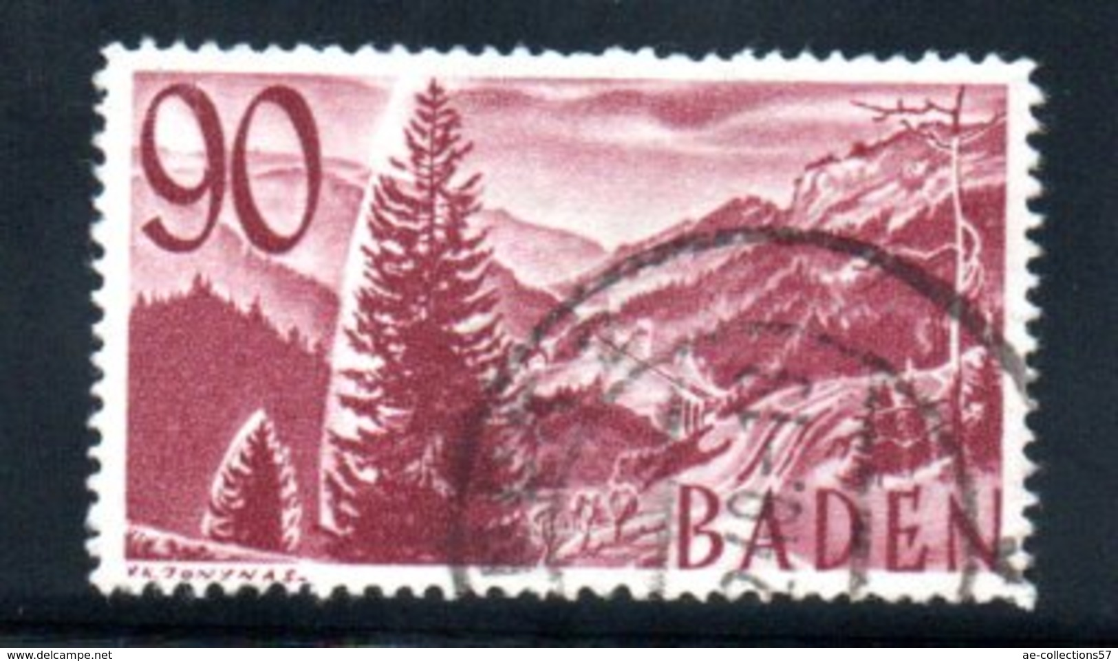 Baden   / N 37 /  90 Pf Lilas / Oblitéré / Côte 110 € - Baden