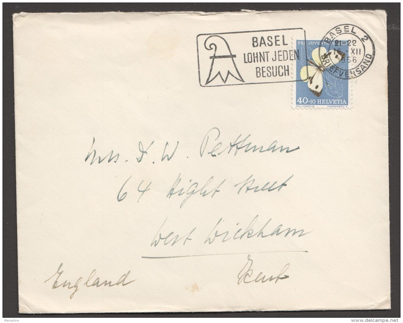 1956  Lettre Pour La France  Ppillon  Zum 167 - Briefe U. Dokumente