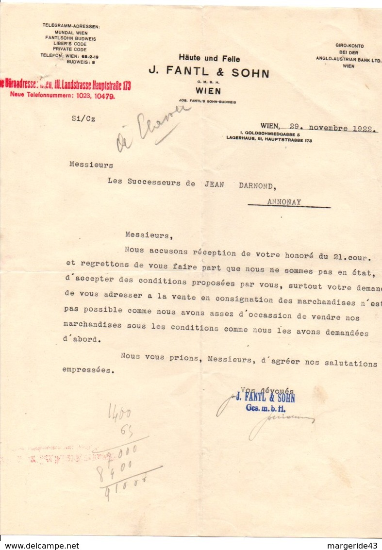 AUTRICHE COURRIER POUR ANNONAY (FRANCE) DE J. FANTL & SOHN à VIENNE 1922 - Autriche