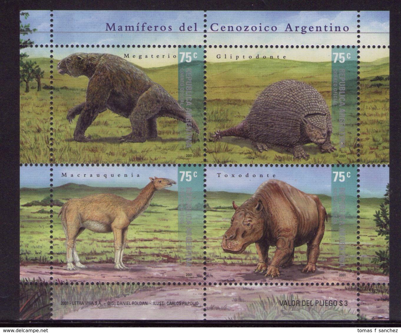 Argentina - 2001 - Faune Préhistorique Du Cénozoique. - Yvert 2228 / 2231 - Briefmarken