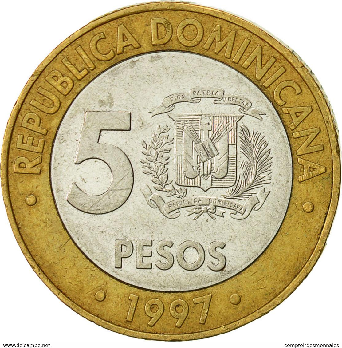 Monnaie, Dominican Republic, 5 Pesos, 1997, TTB+, Bi-Metallic, KM:88 - Dominicaine