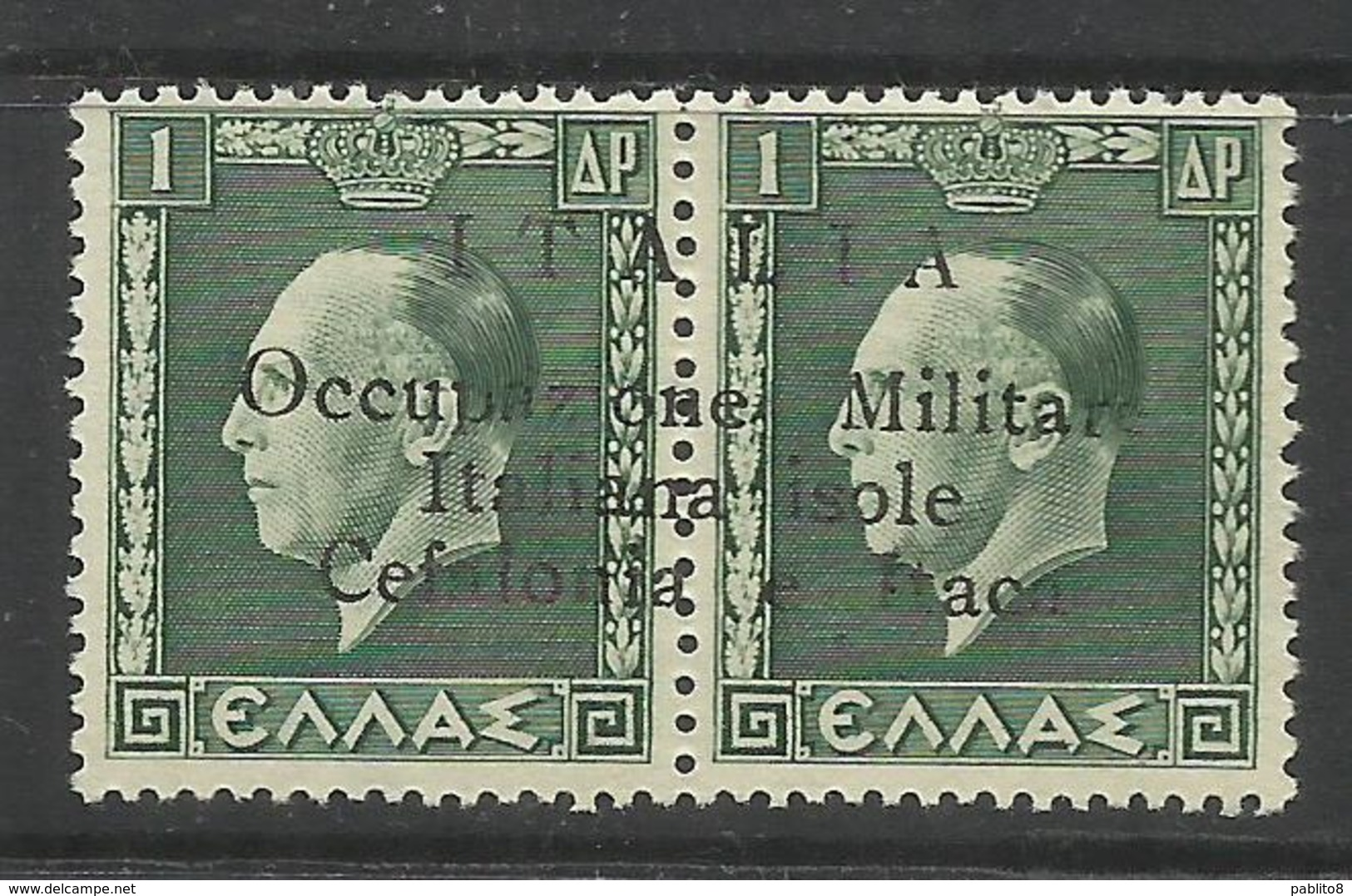 OCCUPAZIONE ITALIANA CEFALONIA E ITACA KEFALONIA ITHACA 1941 KING GEORGE II RE GIORGIO 1 D + 1 D MNH FIRMATO SIGNED - 9. Occupazione 2a Guerra (Italia)