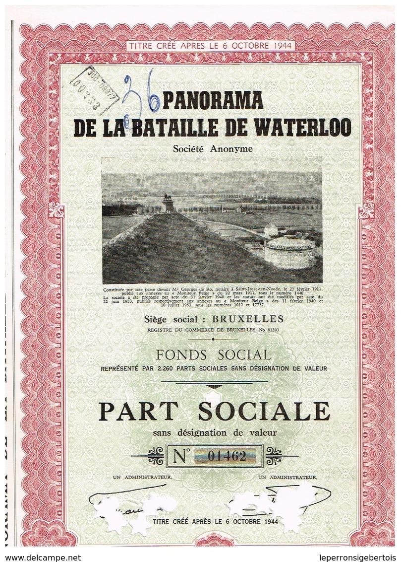 Action Ancienne - Panorama De La Bataille De Waterloo - Titre De 1953 - Titre N° 01462 - Chemin De Fer & Tramway
