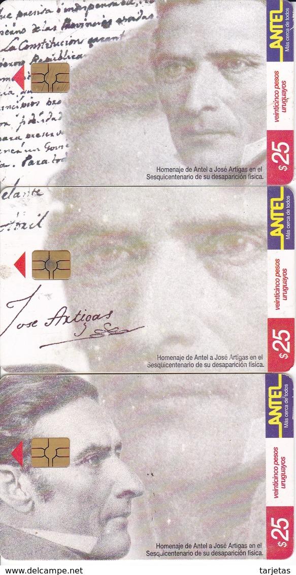 PUZZLE DE 3 TARJETAS DE URUGUAY DE HOMENAJE A JOSE ARTIGAS - Uruguay