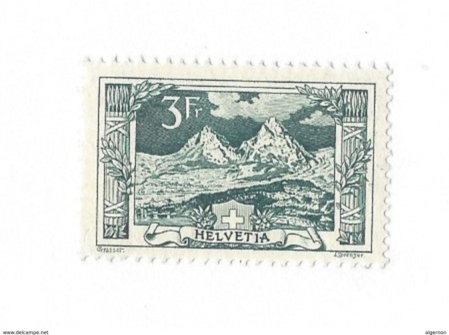 20244 -  Schweiz 1914 3 Fr Vert  Paysage Mythen  Zu N° 129 Côte 1960 CHF  Avec Attestation - Suisse