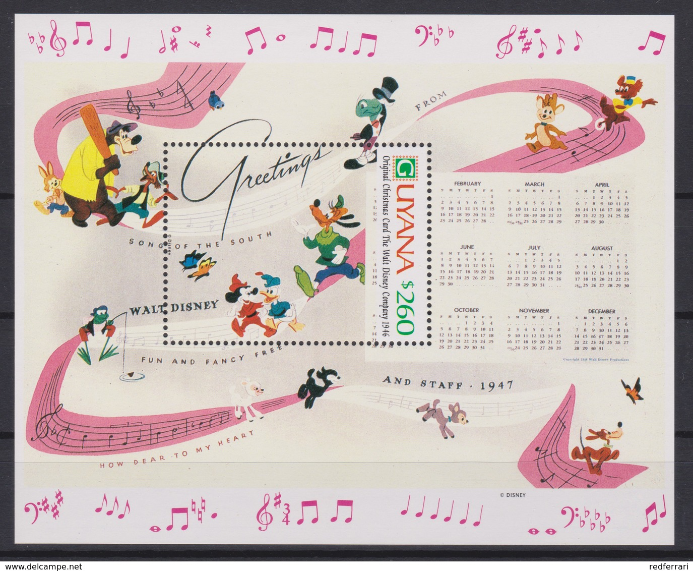 2309   WALT DISNEY  GUYANA  ( Christmas 1991 ) Original Christmas Card The Walt Disney Company - Disney
