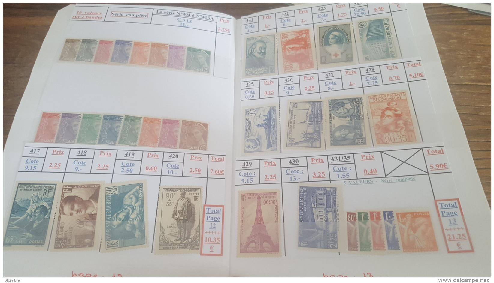 LOT 405844 TIMBRE DE FRANCE NEUF* VALEUR 650 EUROS - Francia