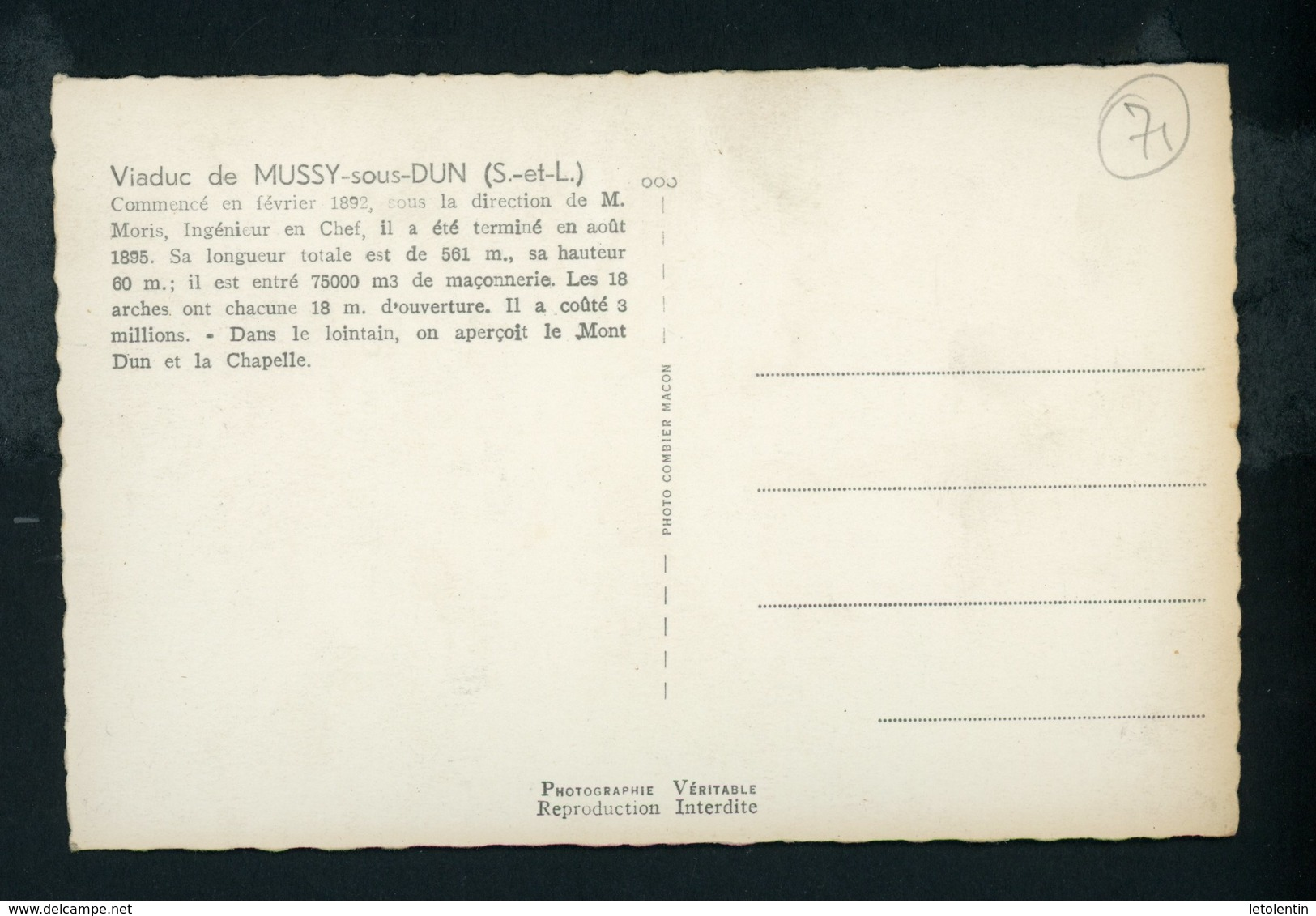 CPSM:  71 - VIADUC DE MUSSY-SOUS-DUN - Autres Communes