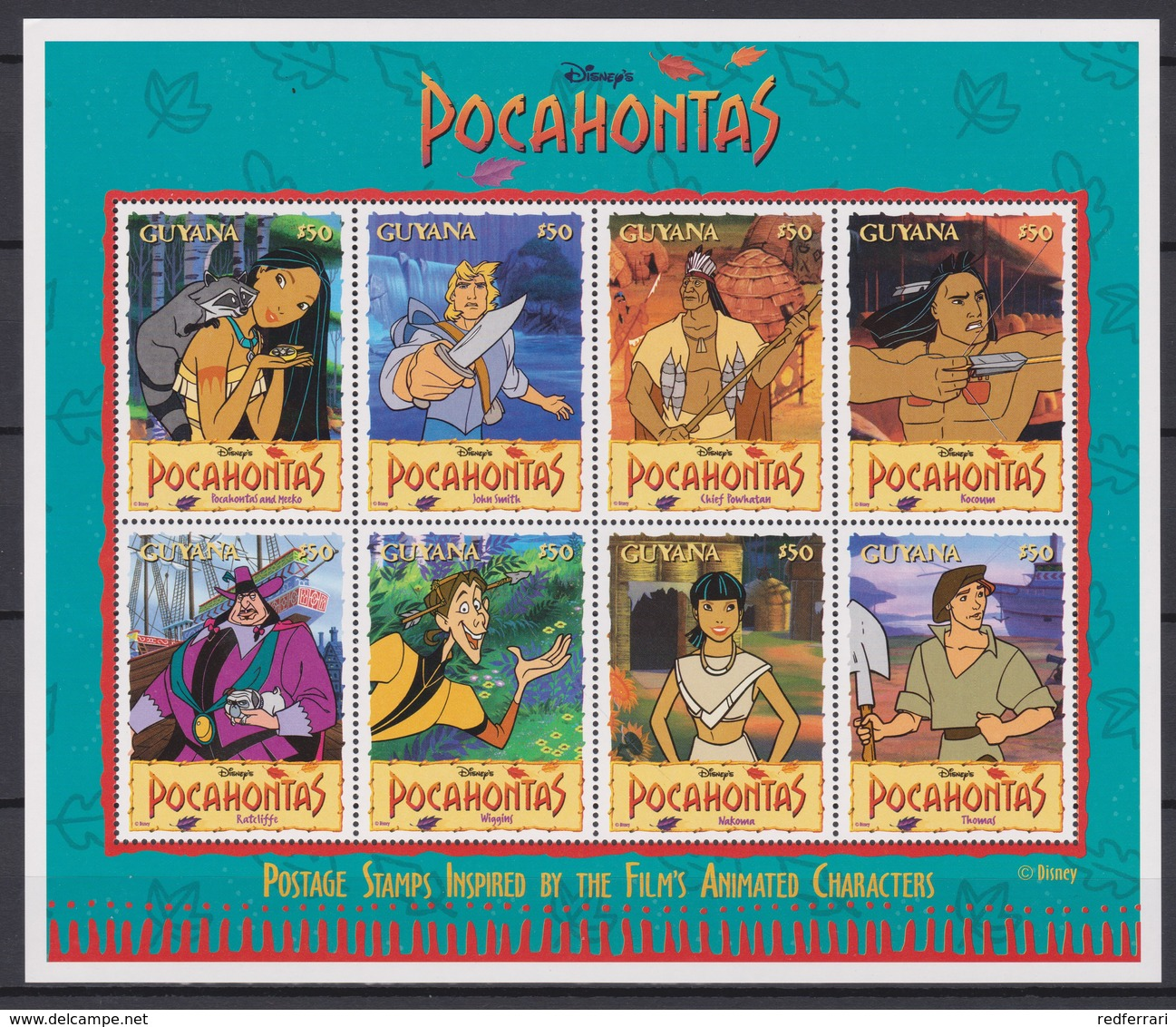 2322  WALT DISNEY - GUYANA ( POCAHONTAS) Presentation Of The Cartoon Characters. - Disney